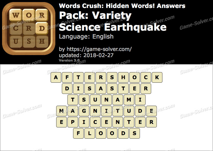 Words Crush Variety-Science Earthquake Answers