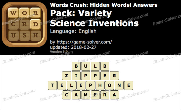 Words Crush Variety-Science Inventions Answers