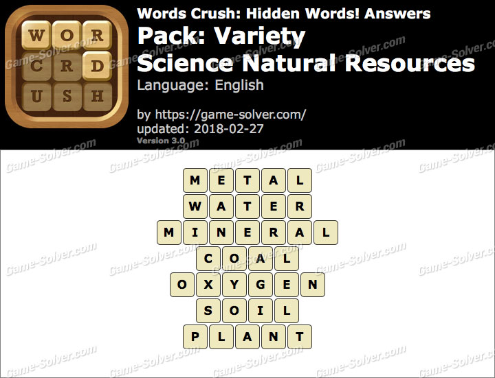 Words Crush Variety-Science Natural Resources Answers
