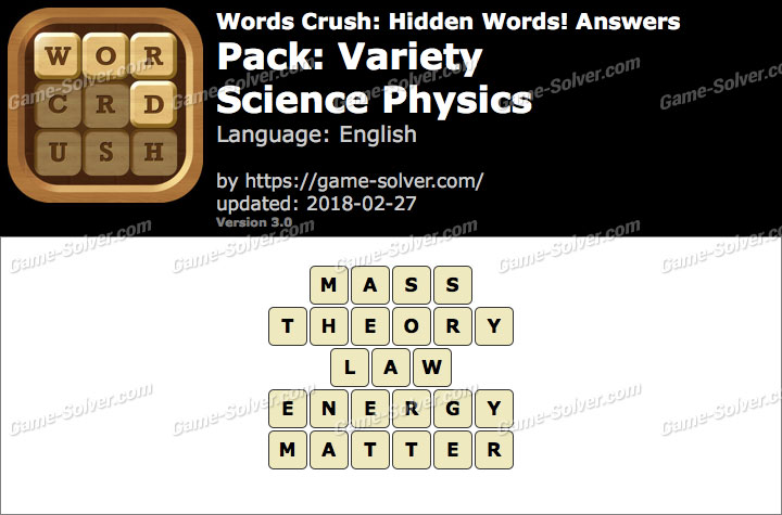 Words Crush Variety-Science Physics Answers