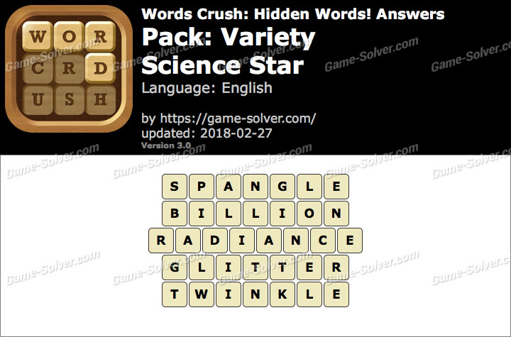 Words Crush Variety-Science Star Answers