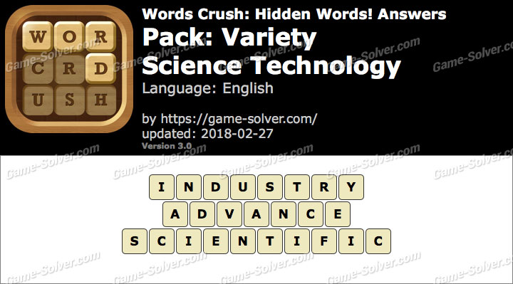 Words Crush Variety-Science Technology Answers