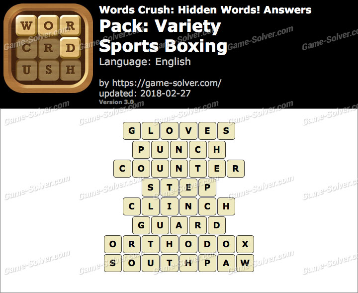 Words Crush Variety-Sports Boxing Answers