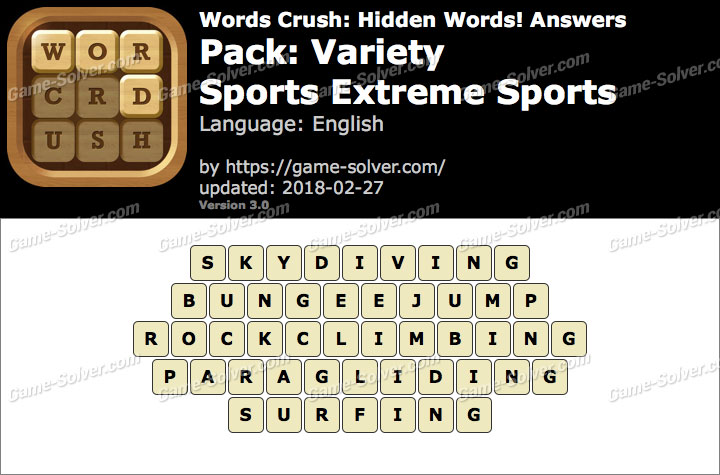 Words Crush Variety-Sports Extreme Sports Answers