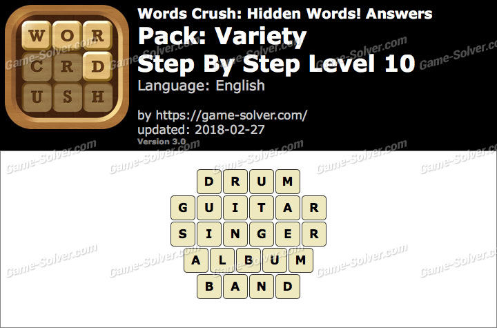 Words Crush Variety-Step By Step Level 10 Answers