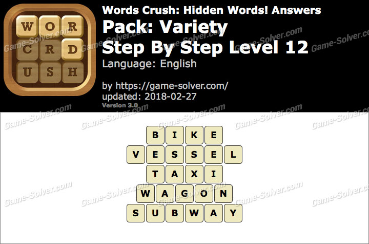 Words Crush Variety-Step By Step Level 12 Answers