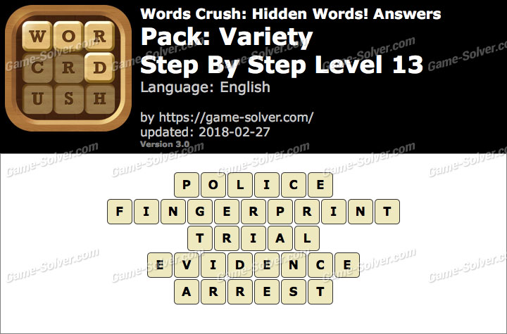 Words Crush Variety-Step By Step Level 13 Answers