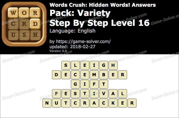 Words Crush Variety-Step By Step Level 16 Answers