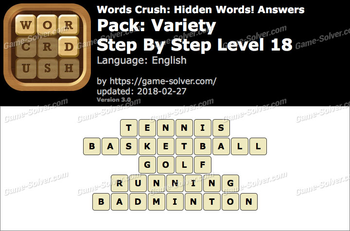Words Crush Variety-Step By Step Level 18 Answers