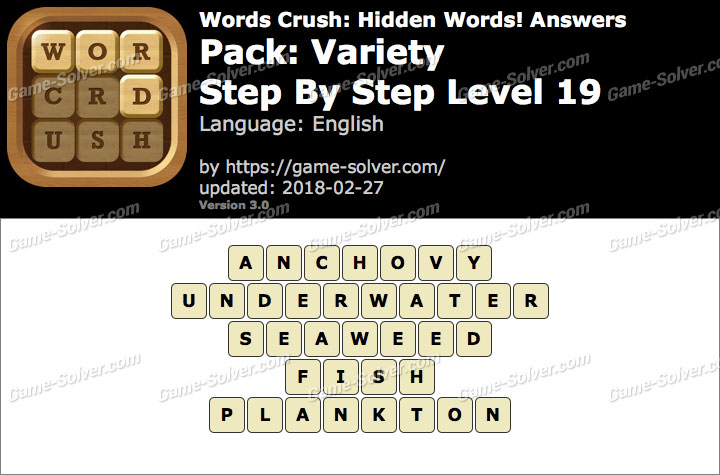 Words Crush Variety-Step By Step Level 19 Answers