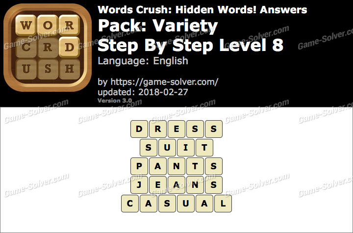 Words Crush Variety-Step By Step Level 8 Answers