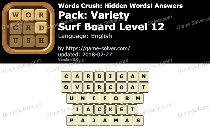 Words Crush Variety-Surf Board Level 12 Answers