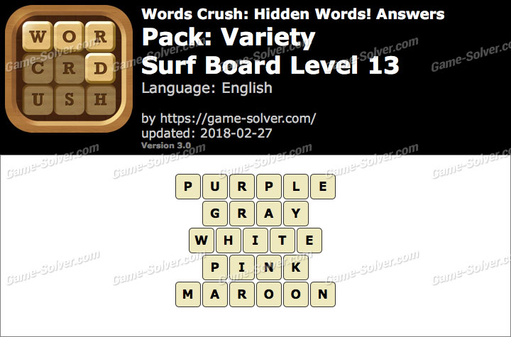 Words Crush Variety-Surf Board Level 13 Answers