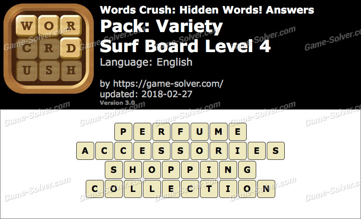 Words Crush Variety-Surf Board Level 4 Answers