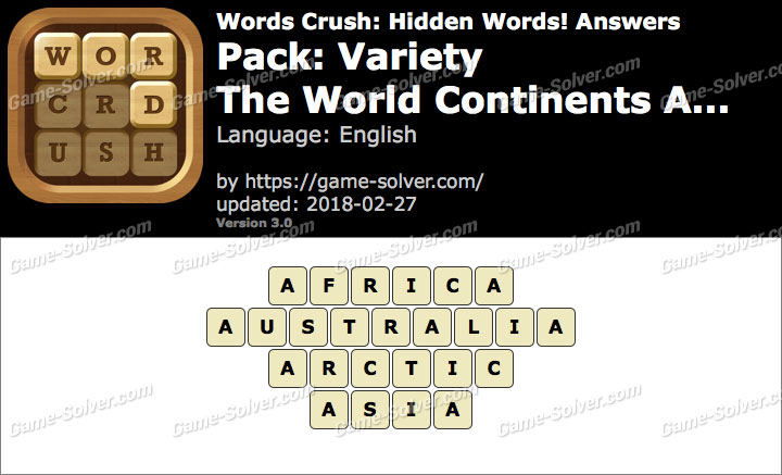 Words Crush Variety-The World Continents A... Answers