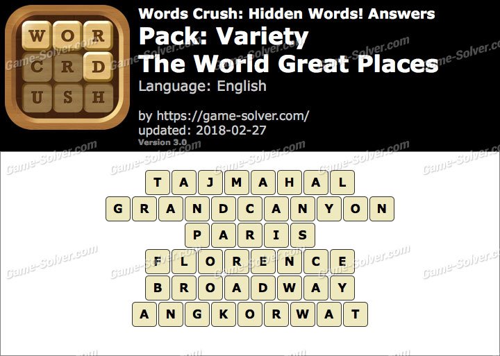 Words Crush Variety-The World Great Places Answers