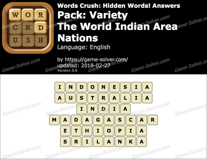 Words Crush Variety-The World Indian Area Nations Answers