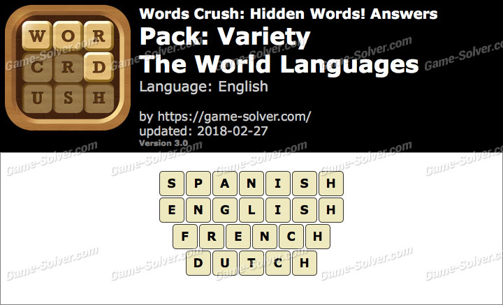 Words Crush Variety-The World Languages Answers