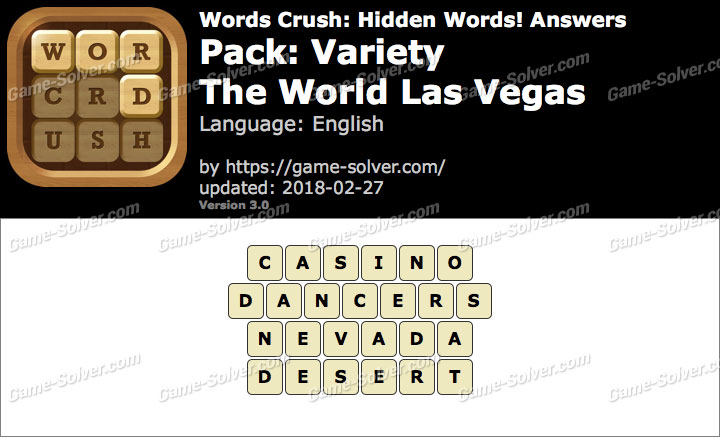 Words Crush Variety-The World Las Vegas Answers