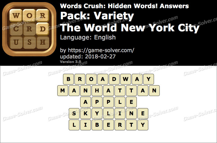Words Crush Variety-The World New York City Answers