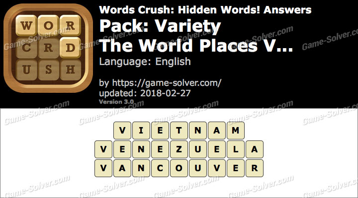 Words Crush Variety-The World Places V... Answers