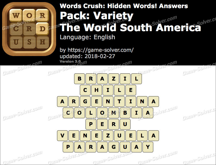 Words Crush Variety-The World South America Answers