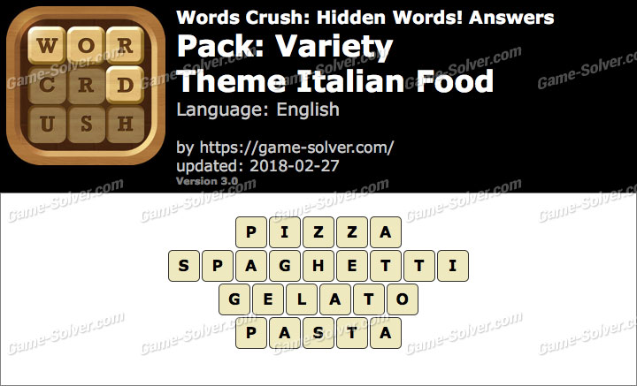 Words Crush Variety-Theme Italian Food Answers