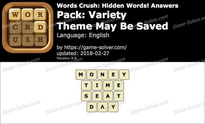 Words Crush Variety-Theme May Be Saved Answers