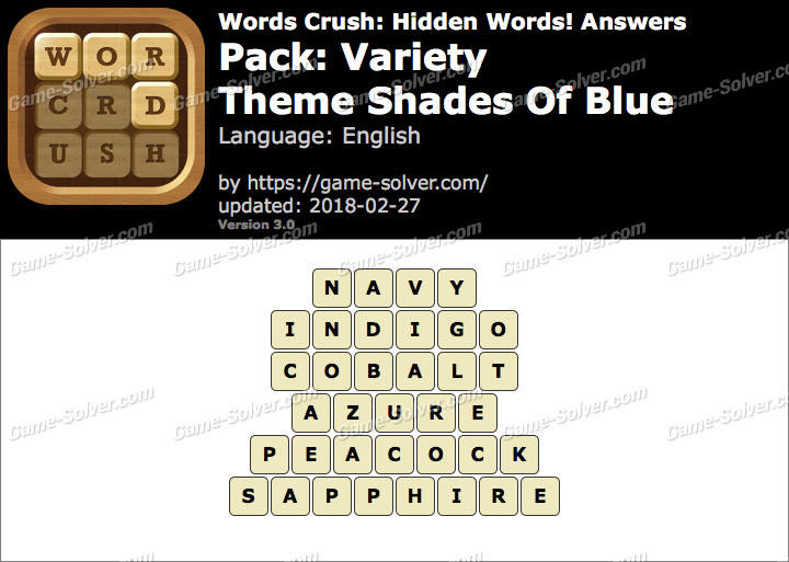 Words Crush Variety-Theme Shades Of Blue Answers