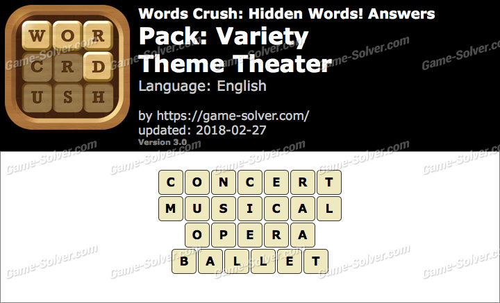 Words Crush Variety-Theme Theater Answers
