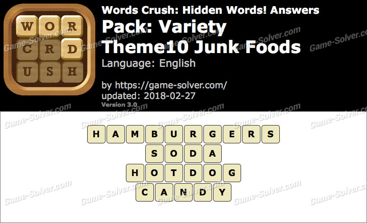 Words Crush Variety-Theme10 Junk Foods Answers