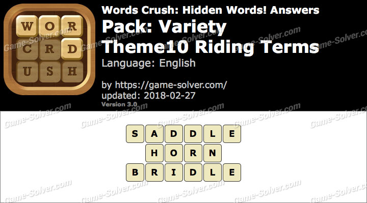 Words Crush Variety-Theme10 Riding Terms Answers