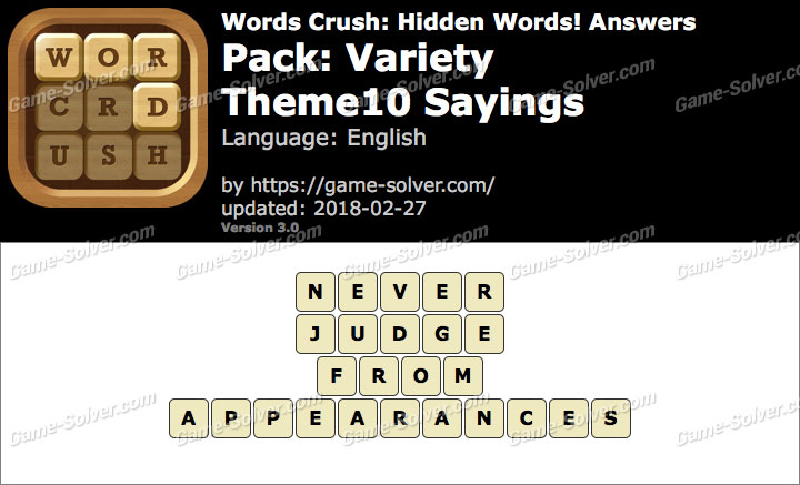Words Crush Variety-Theme10 Sayings Answers