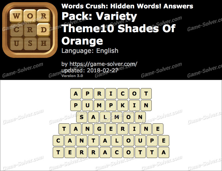 Words Crush Variety-Theme10 Shades Of Orange Answers