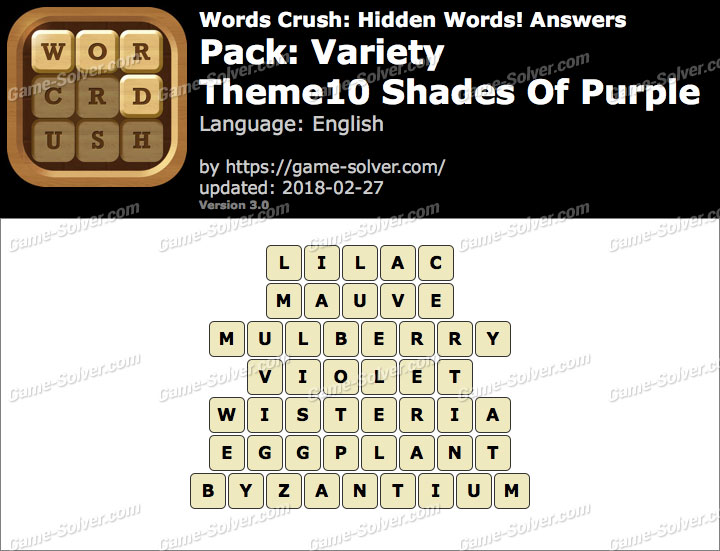 Words Crush Variety-Theme10 Shades Of Purple Answers