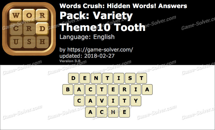 Words Crush Variety-Theme10 Tooth Answers