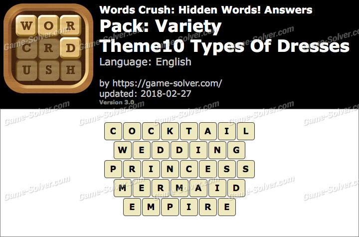 Words Crush Variety-Theme10 Types Of Dresses Answers