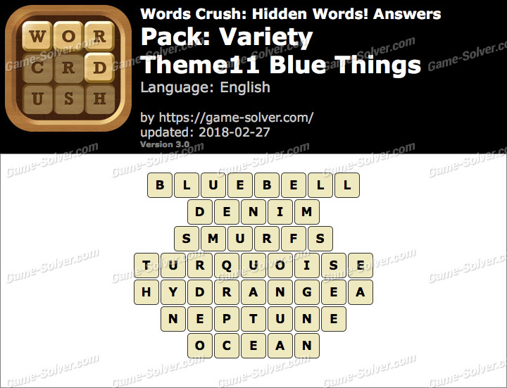 Words Crush Variety-Theme11 Blue Things Answers
