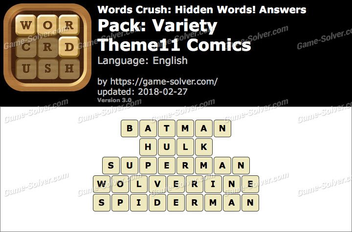 Words Crush Variety-Theme11 Comics Answers