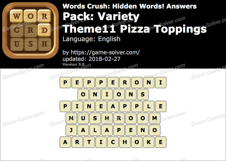 Words Crush Variety-Theme11 Pizza Toppings Answers