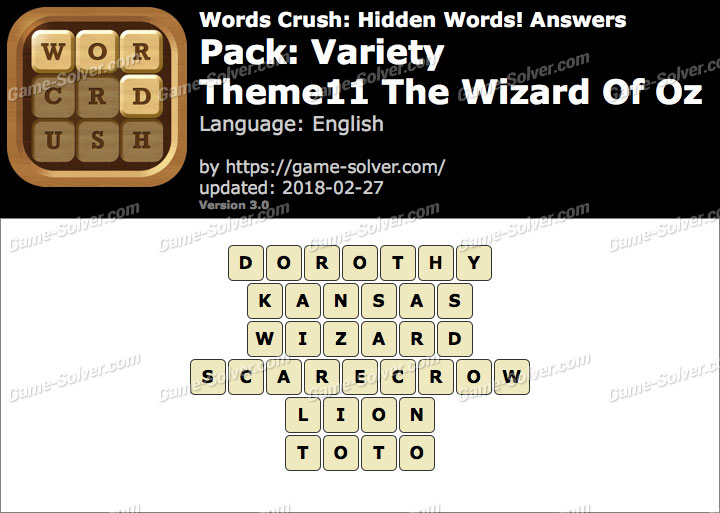 Words Crush Variety-Theme11 The Wizard Of Oz Answers