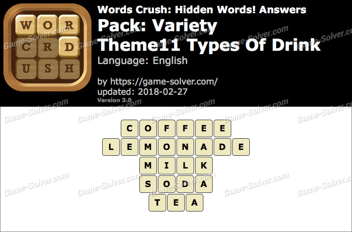 Words Crush Variety-Theme11 Types Of Drink Answers