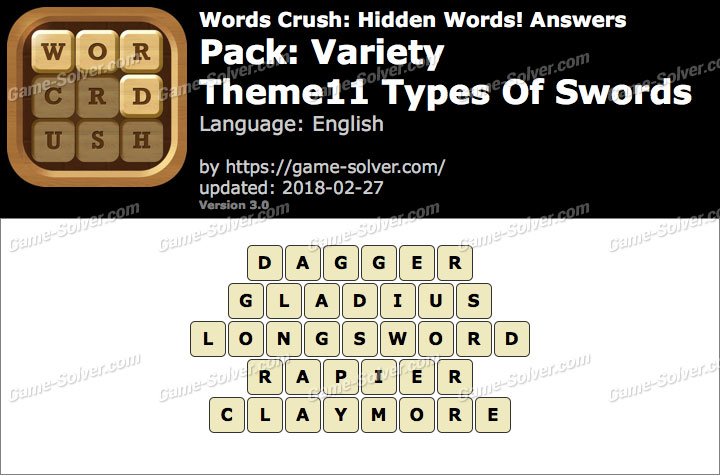 Words Crush Variety-Theme11 Types Of Swords Answers