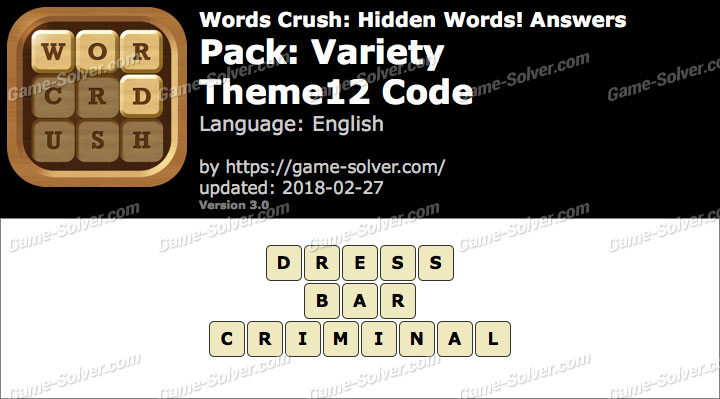 Words Crush Variety-Theme12 Code Answers
