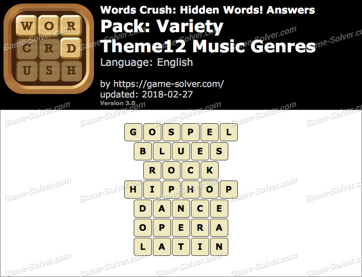 Words Crush Variety-Theme12 Music Genres Answers