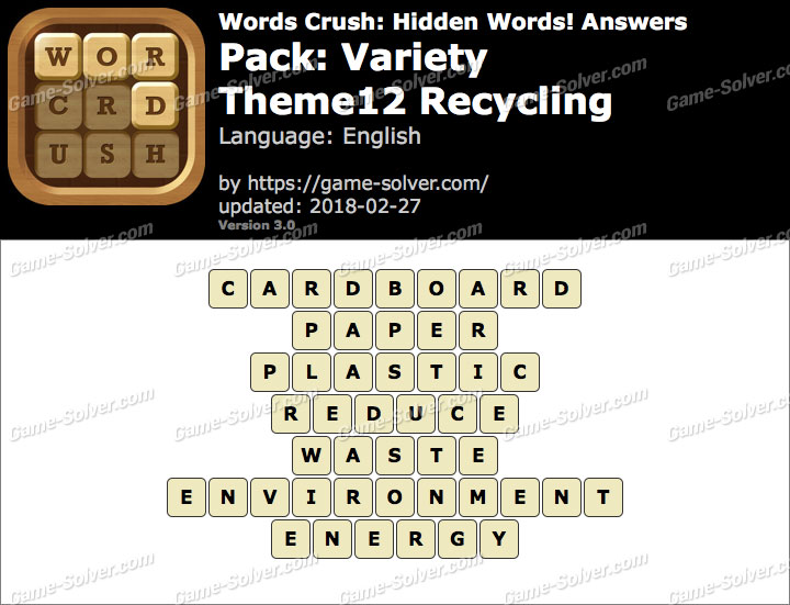 Words Crush Variety-Theme12 Recycling Answers