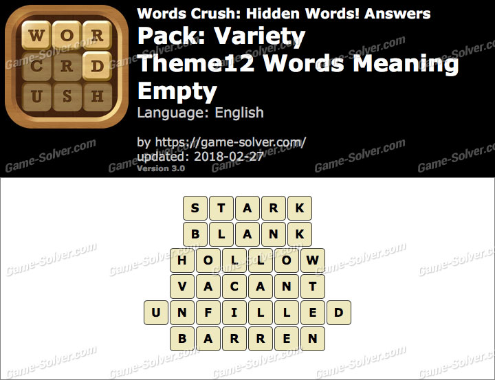 Words Crush Variety-Theme12 Words Meaning Empty Answers