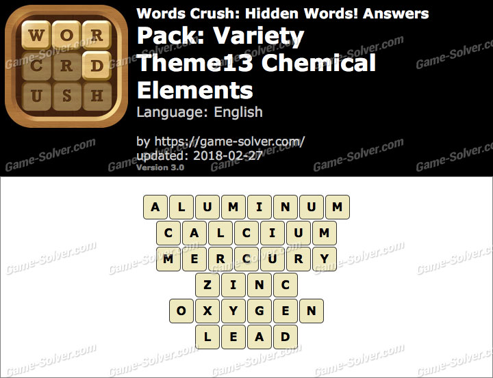 Words Crush Variety-Theme13 Chemical Elements Answers