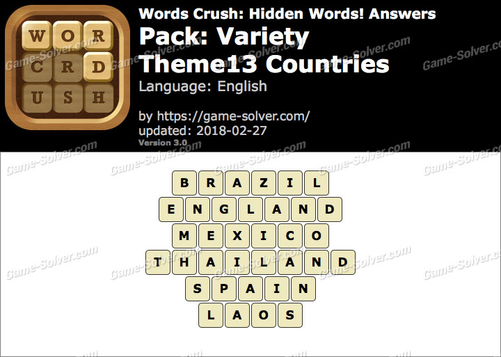 Words Crush Variety-Theme13 Countries Answers