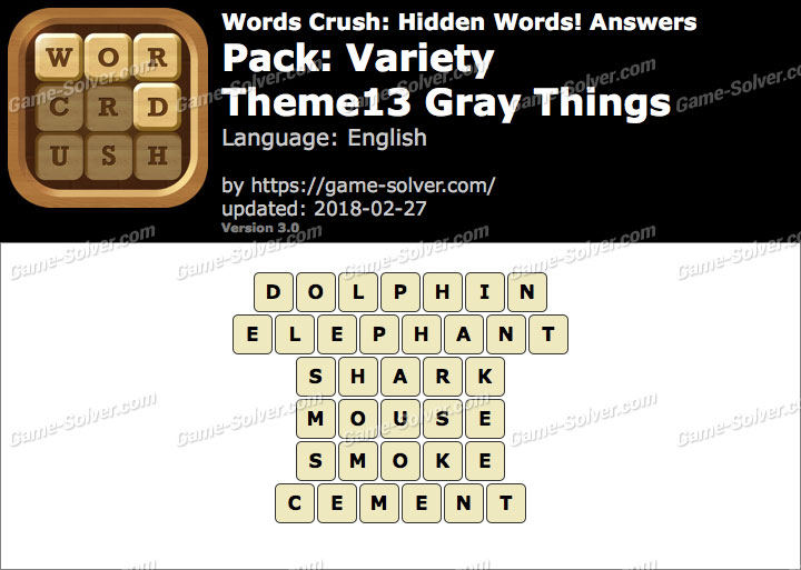 Words Crush Variety-Theme13 Gray Things Answers